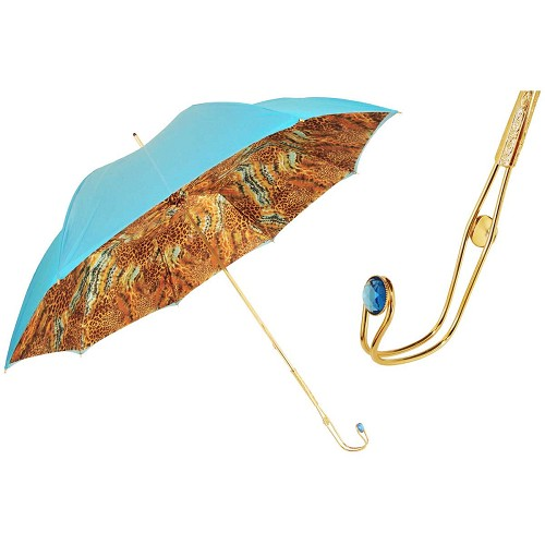 Pasotti Light Blue Women's Umbrella with animal print interior and jeweled brass handle.