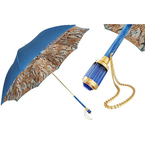 Pasotti Blue Wild Animalier Women's Umbrella with blue handle.