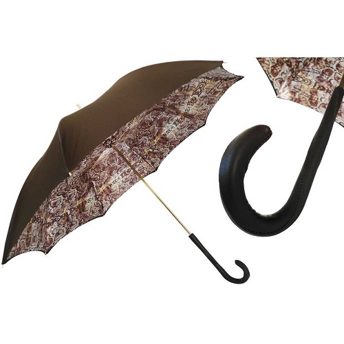 Pasotti Burnished Green with Python Print Interior Animalier Women's Umbrella with leather handle.