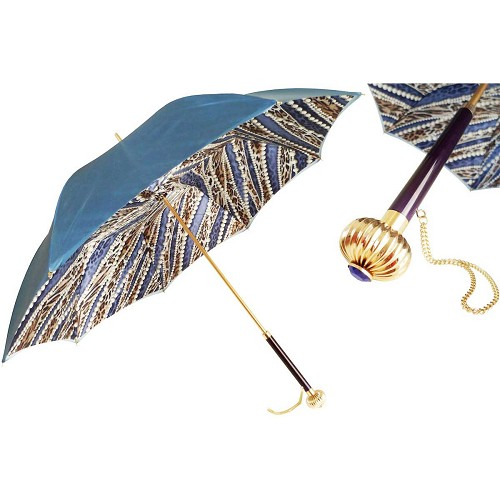 Pasotti Blue Fantastic Women's Umbrella with pearls and cheetah print interior and jeweled handle.