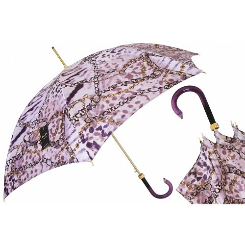 Pasotti Purple Nuance Women's Umbrella with chains print and purple handle.