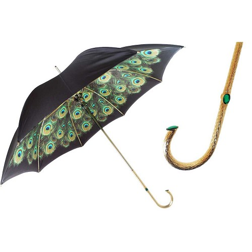 Pasotti Black with Peacock Interior Women's Umbrella with animal print interior and green jeweled brass handle.