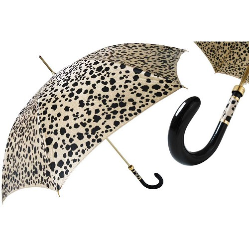 Pasotti Speckled Animalier Women's Umbrella with black plastic handle.