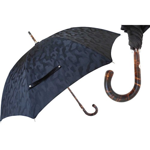 Men's black camouflage umbrella, one-piece hickory wood shaft-handle.
