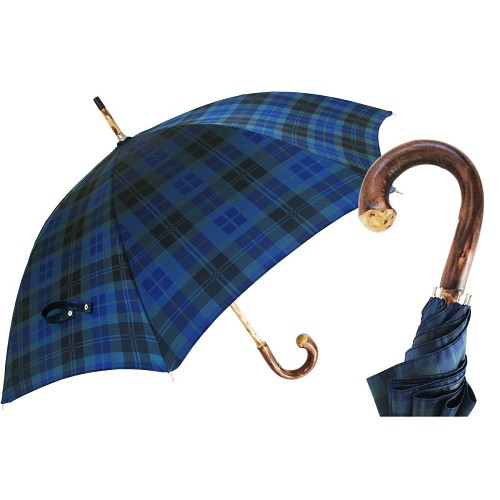 Men's handmade blue plaid umbrella with solid one-piece chestnut shaft-handle.