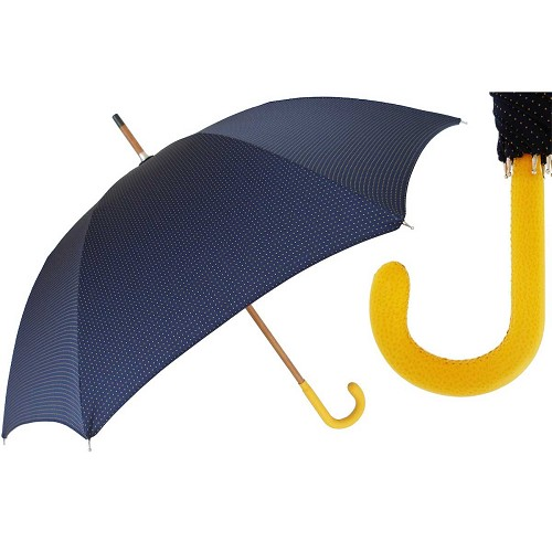 Blue with Yellow Dots Men's umbrella with wood shaft and yellow leather handle.
