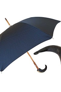 20508864f Pasotti Men's Bespoke Black Jacquard Geometric Design Umbrella - Twisted  Leather Handle