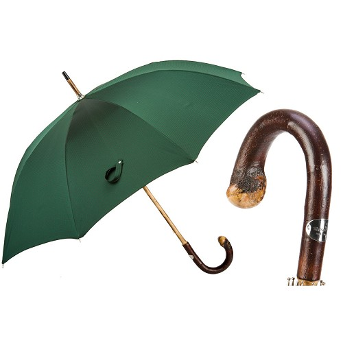 Men's green with red pin dot umbrella, one-piece chestnut wood shaft-handle with knob end.