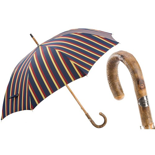 Luxury men's umbrella with multi-color jacquard stripes and ash handle
