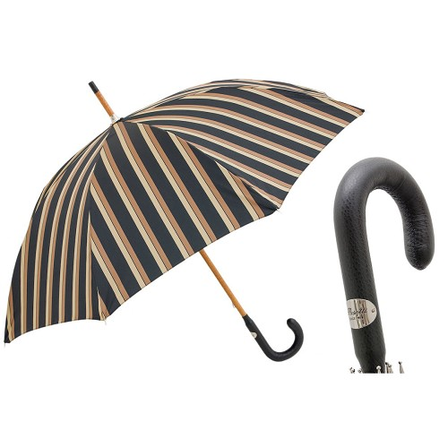 Men's handmade classic striped umbrella with solid one-piece wood shaft and leather handle.