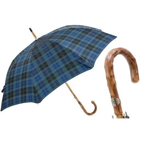 Men's handmade blue plaid umbrella with solid one-piece congo wood handle.