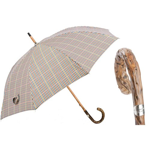 Bespoke Pastel Tartan Umbrella handmade with broom wood handle.