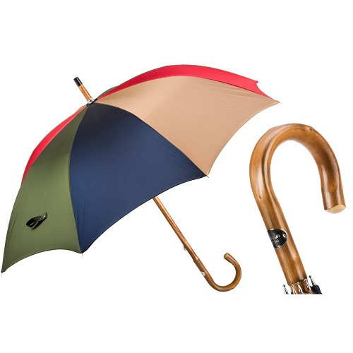 Men's handmade mulit-color umbrella with solid one-piece chestnut shaft-handle.