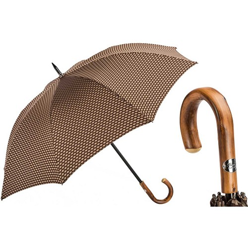 Bespoke Brown Jacquard Geometric Umbrella handmade with chestnut handle.