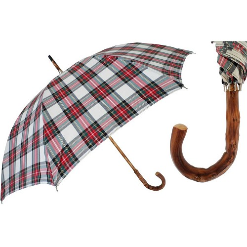 Men's plaid umbrella with one-piece Congo wood shaft -handle.