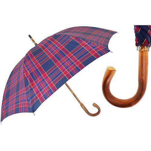 Men's handmade red & blue plaid umbrella with solid one-piece chestnut shaft-handle.