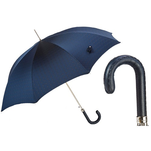 Bespoke Blue Gents jacquard print umbrella handmade with navy leather handle.