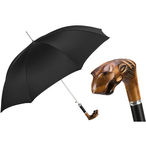 Men's handmade black umbrella with hand carved tiger wood handle.