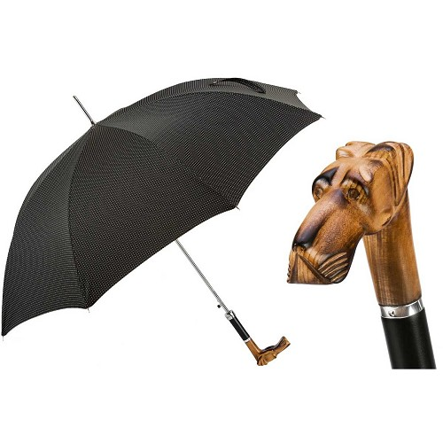 Men's handmade black pindot umbrella with hand carved great dane wood handle.