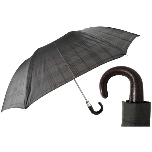 Pasotti Ombrelli Grey Check Men's Folding Umbrella with brown leather handle.