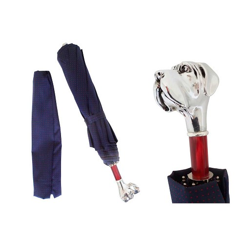 Pasotti Ombrelli Blue with Red Polka Dots Men's Folding Umbrella with silver plated Labrador dog handle.