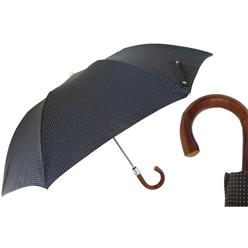 Pasotti Ombrelli Black Pin Dot Folding Umbrella with brown wood handle.