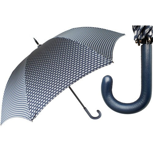 Men's design umbrella handmade with blue leather handle.