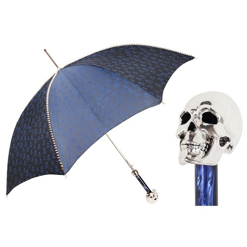 Handmade mens luxury umbrella with Navy Blue studded canopy and silver skull handle.