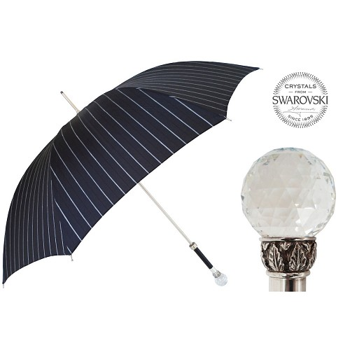 Men's umbrella handmade with black pencil stripe canopy and Swarovski® Crystal Ball handle.