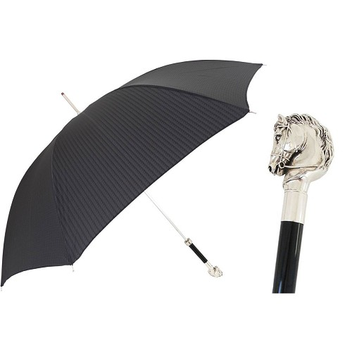 Men's black umbrella handmade with silver-plated horse-with-bridle handle.
