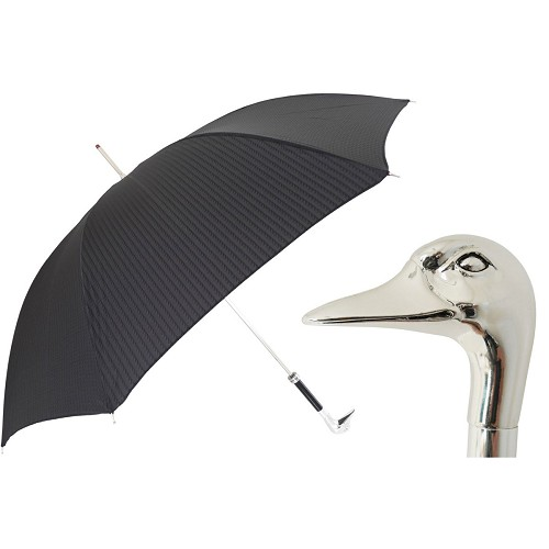 Men's black umbrella handmade with silver-plated goose handle.