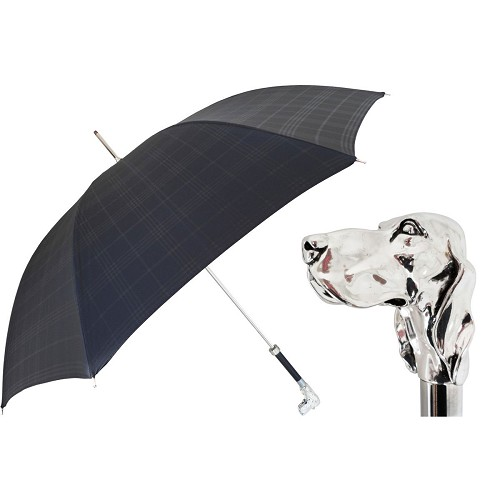Elegant black plaid canopy umbrella handmade with a silver-plated dog handle.