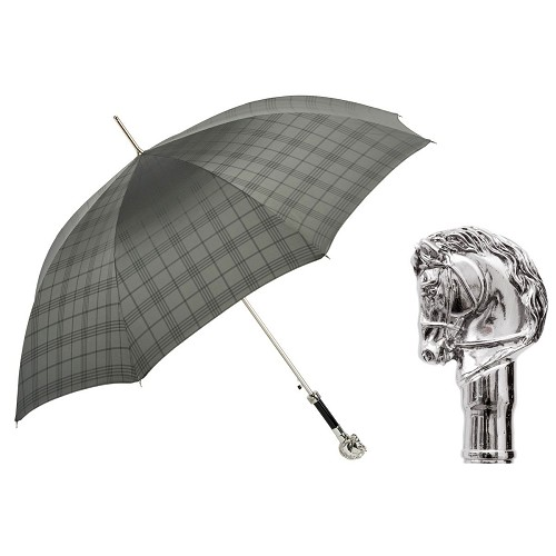 Grey checkered umbrella handmade with silver-plated horse handle.