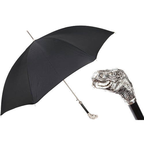 Black umbrella handmade with with brass T-Rex dinosaur handle.
