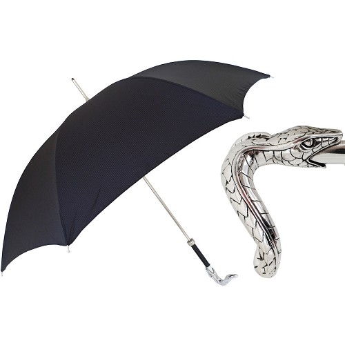 Men's black umbrella handmade with brass snake handle.
