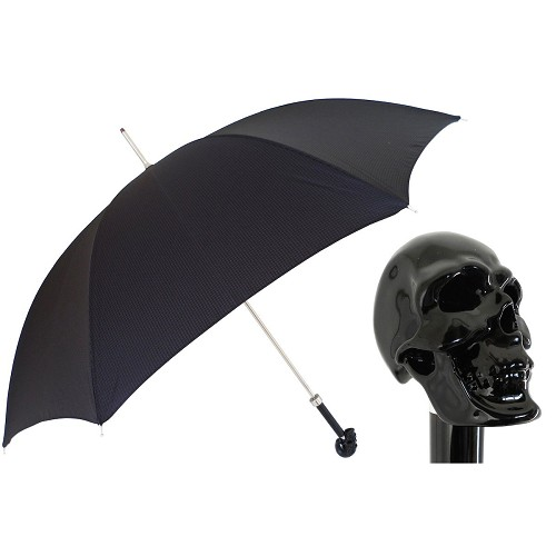 Elegant mysterious black canopy umbrella with a black skull handle.