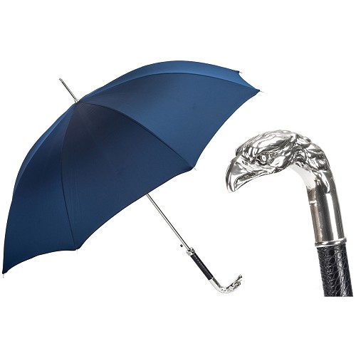 Men's blue canopy umbrella handmade with silver eagle handle in metal.
