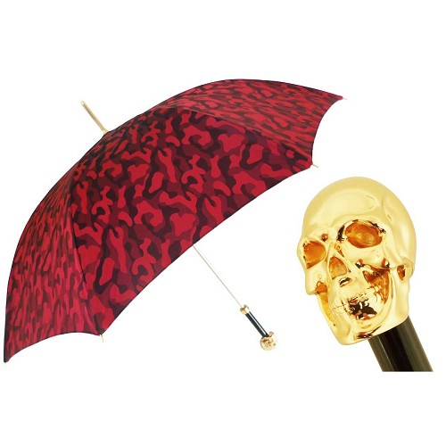 Handmade Red Camouflage umbrella with Gilt Skull Handle.