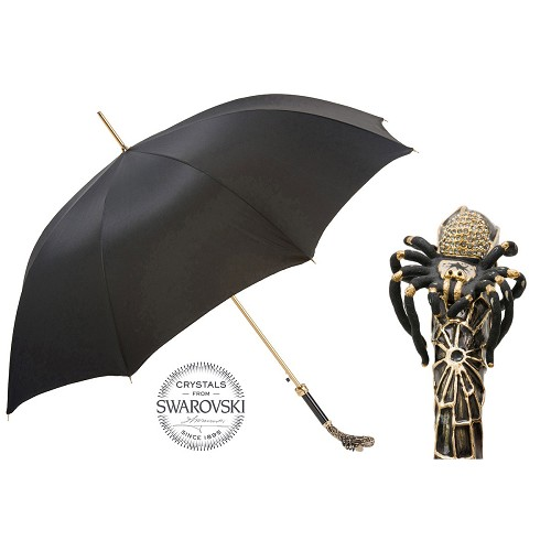 Men's black umbrella handmade with Tarantula handle in enameled brass and Swarovski Crystals.
