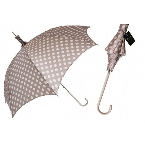 Pasotti women's parasol sun umbrella with a polka dot pattern on beige canopy, ivory leather handle.