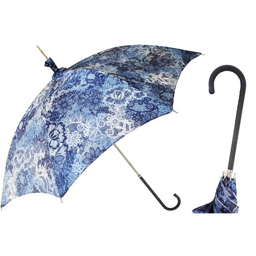 Pasotti women's parasol sun umbrella with blue floral print canopy, leather handle.