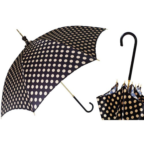 Pasotti women's parasol sun umbrella with a polka dot pattern canopy, black leather handle.