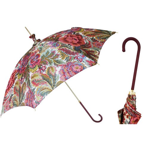Pasotti women's parasol sun umbrella with paisley print canopy, leather handle.