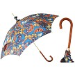 Pasotti women's parasol sun umbrella with butterflies on a blue sky, malacca wood handle.