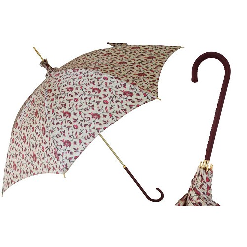Pasotti women's parasol sun umbrella with floral pattern on white cover, brown leather handle.