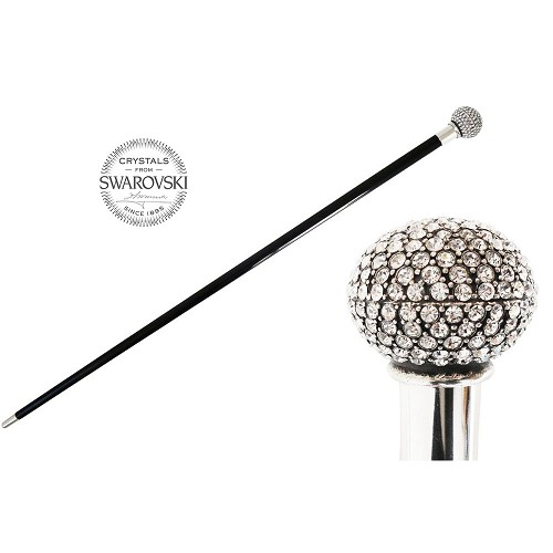 Walking cane handmade with Swarovski® Crystals and  black wood.