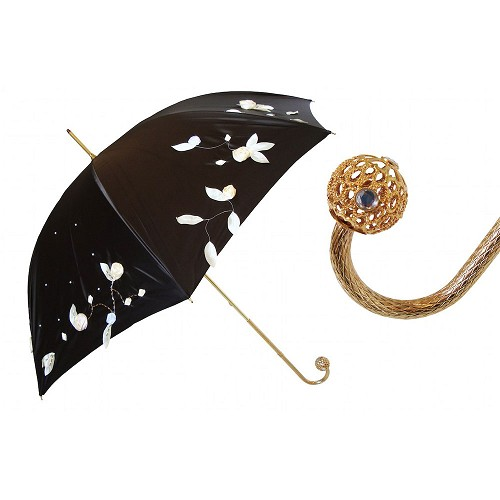 Pasotti luxury women's umbrella with hand embroidered leaves on brown canopy.