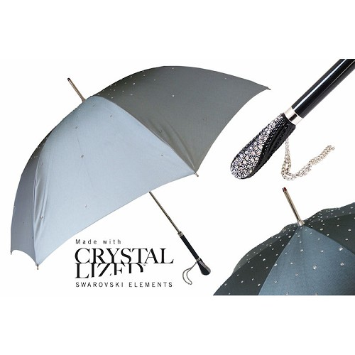 Beautiful Swarovski crystal graduated silver to black umbrella with crystal embedded handle.