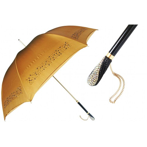 Luxury women's umbrella with gems and a Swarvoski crystal handle.