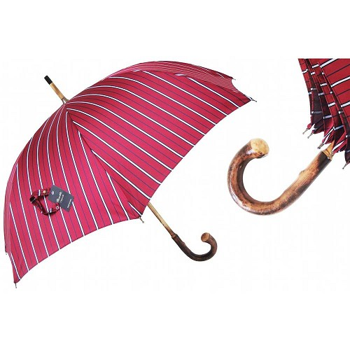 Luxury men's umbrella with red wine jacquard with pinstripes and chestnut handle